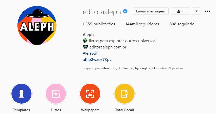 editora aleph instagram
