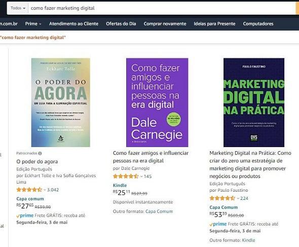 exemplo amazon de busca marketing digital