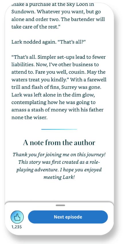 Kindle Vella |  Captura de tela mostrando que a nota do autor aparece na parte inferior de um episódio