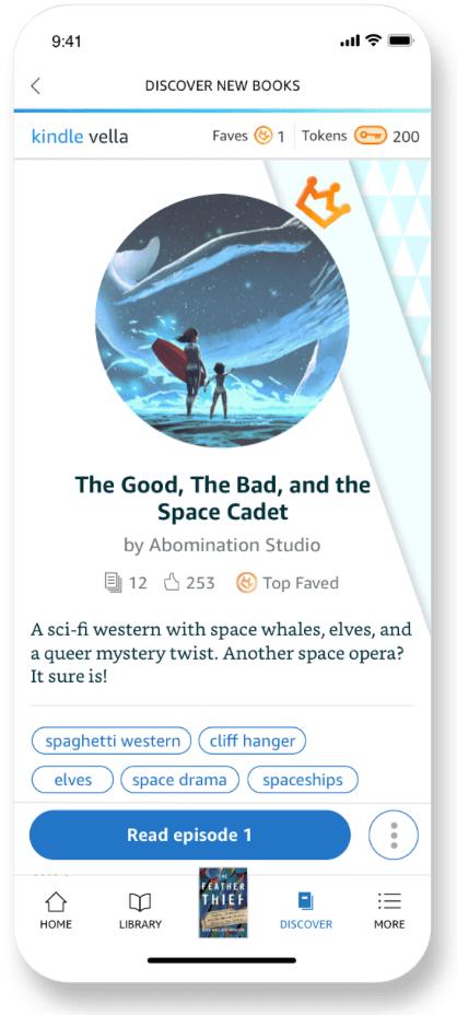 Kindle Vella |  Exemplo mostrando como a imagem de uma história aparece em um círculo recortado após o upload