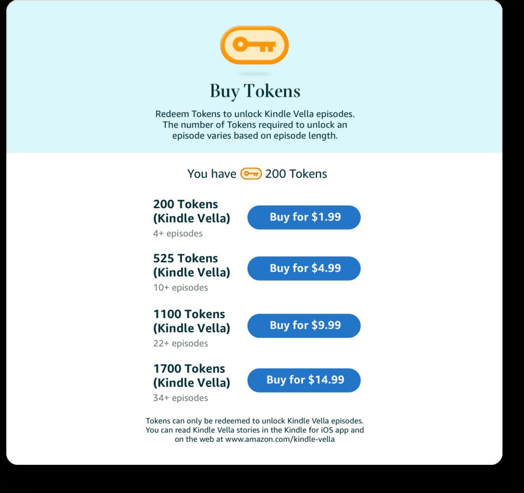 Kindle Vella |  Mostra o plano de preços de tokens proposto atualmente pela Amazon.