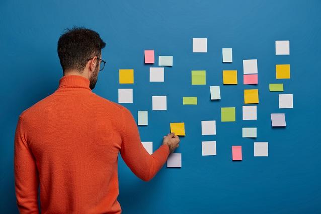 notas adesivas para usar na parede como escaleta