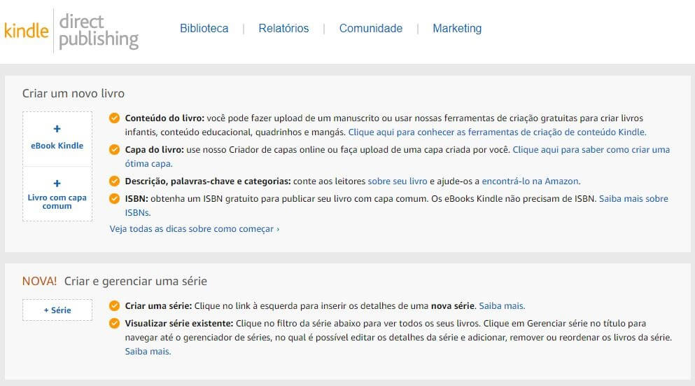 Guia para publicação direta do Kindle |  Interface da página inicial do KDP